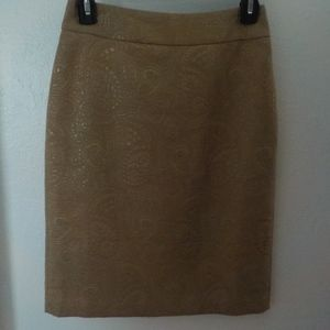 Beige/Gold Damask Fabric Pencil Skirt